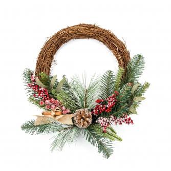 Rattan 45 x 60cm Christmas Wreath