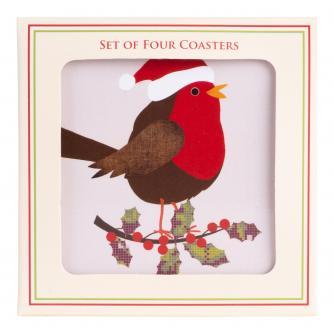 Festive Robin Coasters - Set of 4