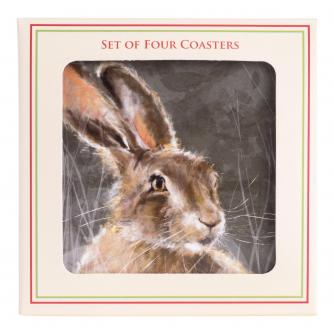 Winter Hare Coasters - Set of 4