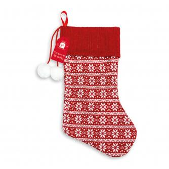 Red & White Snowflake Knitted Stocking