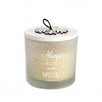 Always Believe in the Impossible Snowflake Glass Candle Holder