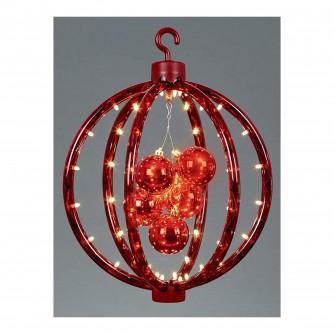 Premier Red Bauble Hanging Reflector LED Light Decoration