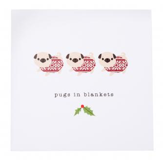 Festive Pugs in Blankets Christmas Cards - Pack of 20