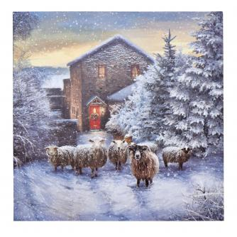 Flock Of Sheep In Winter Christmas Cards - Pack of 20