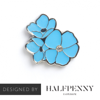Kate Halfpenny Forget-me-not Pin Badge, Cancer Research UK