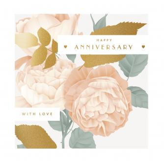 Peach Floral Anniversary Greetings Card