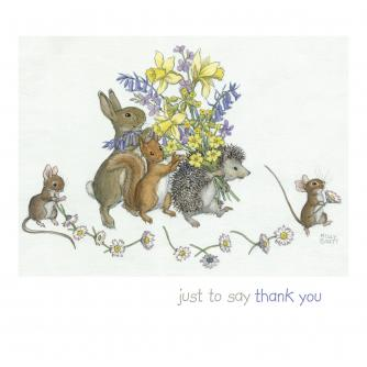 Rabbit, Squirrel & Hedgehog Bouquet Thank You Greetings Card