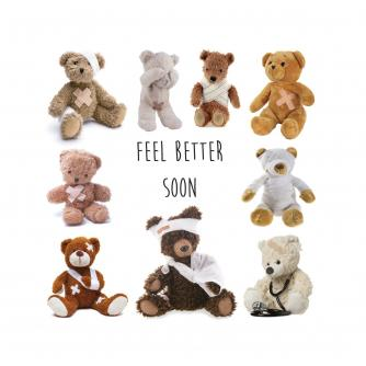 Poorly Teds Get Well Greetings Card