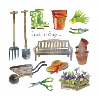 Keen Gardener Just to Say Greetings Card