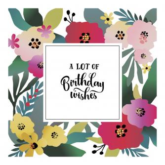 Bright Contemporary Florals Birthday Card