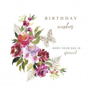 Burst of Watercolour Flowers Birthday Greetings Card