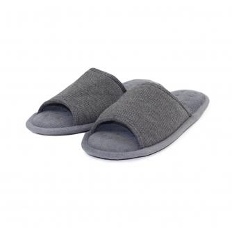 Totes Mens Open Toe Waffle Slipper in Charcoal Grey