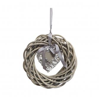 Grey Hanging Wicker Wreath