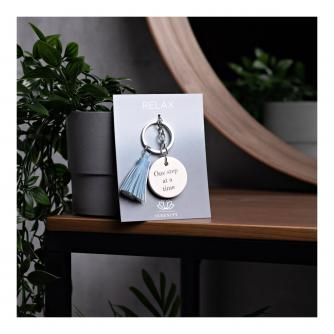 Serenity Inspirational Ceramic Keyring - One Step at a Time