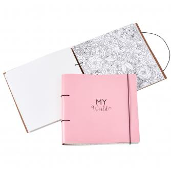 Recycled Leather Planner and Scrapbook in Blossom Pink