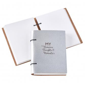 Recycled Leather My Memories, Thoughts and Moments Scrapbook in Silver