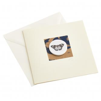 CB Ceramics Black Velvet Moth Button Greetings Card