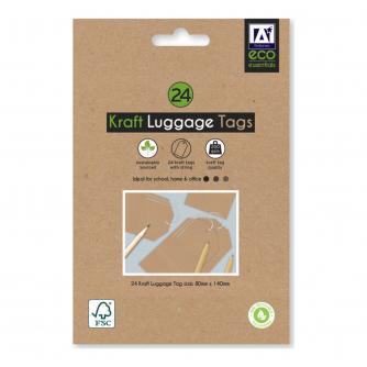 Eco Kraft Luggage Tags - 24 pack