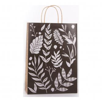 Eco Monochrome Leaf Gift Bag