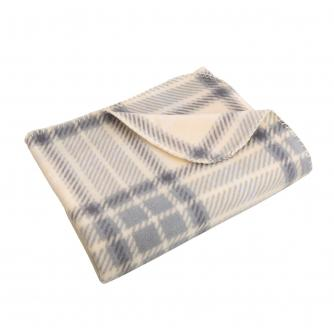 Large Grey & Cream Check Fleece Throw