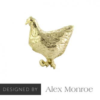 Mrs Chicken Pin Badge Designed by Alex Monroe, Cancer Research UK