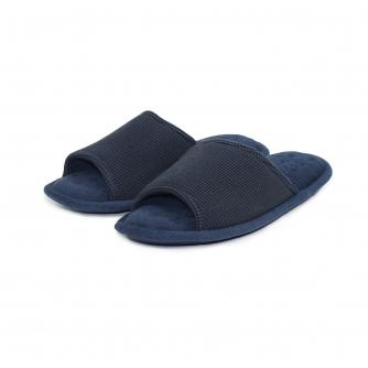 Totes Mens Open Toe Waffle Slipper in Navy
