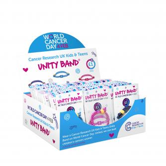 Cancer Research UK Kids & Teens Unity Band Fundraising Box, World Cancer Day, #ActofUnity