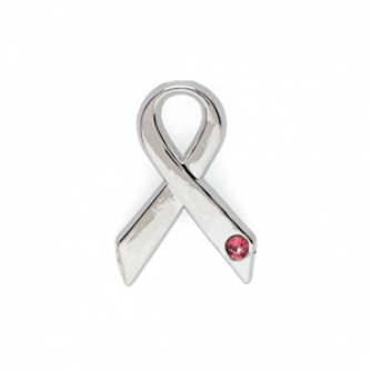 Pink Gem Ribbon Pin Badge, Cancer Research UK