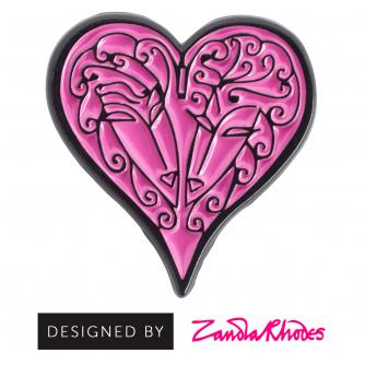 Pink Heart Pin Badge designed by Zandra Rhodes
