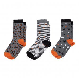 Ladies 3 Pack Stars, Spots & Stripes Socks