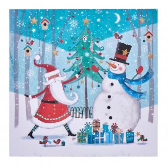 Santa & Snowman Together Christmas Cards - Pack of 20