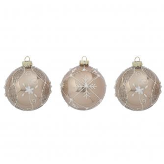 Pearl Glitter Christmas Baubles - Set of 3