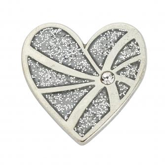 Suzanne Neville Silver Heart Pin Badge, Cancer Research UK