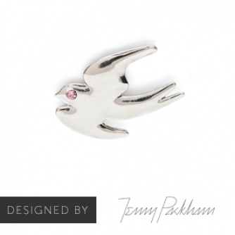 Jenny Packham Silver Swallow Pin Badge, Cancer Research UK
