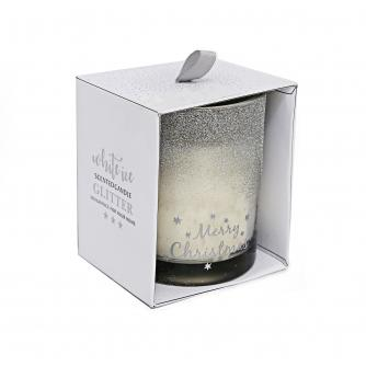 Silver Glitter Christmas Wishes Glass Candle