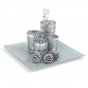 Silver Glitter Glass Votive Holders & Tray Set