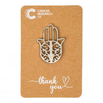 Silver Hamsa Hand Pin Badge