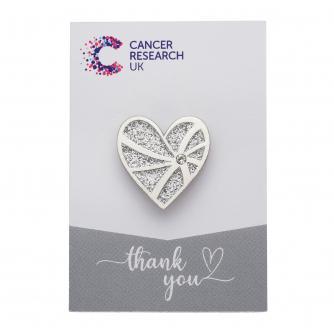 Silver Heart Pin Badge