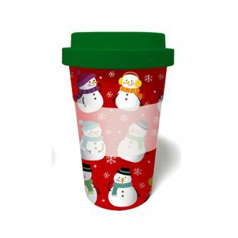 Snowman Bamboo Travel Mug