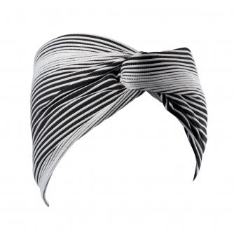 Hipheadwear® Twist Headband in Black & White Stripe