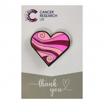 Pink Swirl Heart Pin Badge