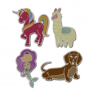 Novelty Pin Badges - Pack of 4