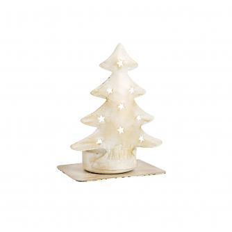 White & Gold Christmas Tree Tealight Holder