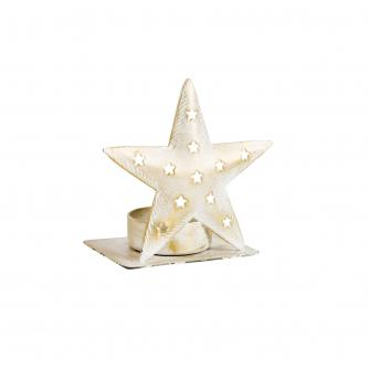 White & Gold Star Tealight Holder