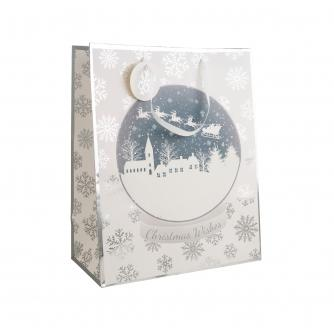 White & Silver Christmas Wishes Gift Bag