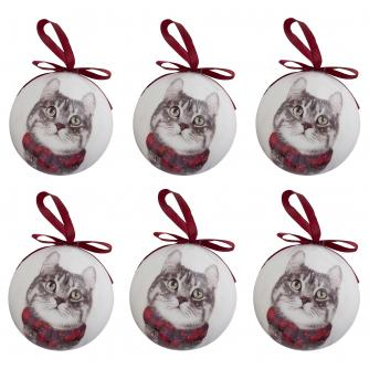 Winter Cat Baubles - set of 6