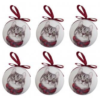 Winter Cat Baubles - set of 6