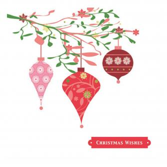 baubles on branch cancer research uk christmas card