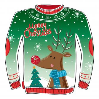 reindeer jumper cancer research uk christmas card
