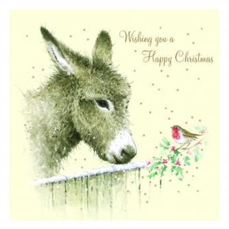 Dolores the donkey christmas card cancer research uk
